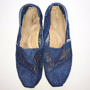 TOM'S Classics Blue Crochet Slip-on Shoes Sz 11